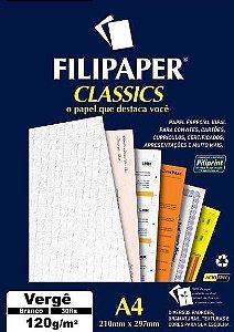 PAPEL VERGÊ 120 G/M² A4 BRANCO C/30 FLS - FILIPERSON