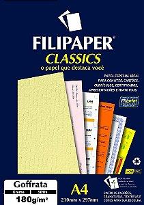 PAPEL GOFFRATA 180 G/M² A4 CREME C/50 FLS - FILIPERSON