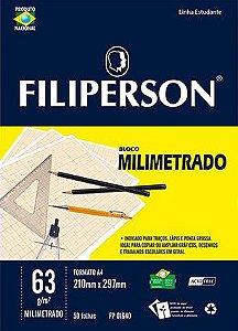 BLOCO MILIMETRADO 63 G/M² A4 BRANCO C/50 FLS - FILIPERSON