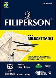 BLOCO MILIMETRADO 63 G/M² A3 BRANCO C/50 FLS - FILIPERSON