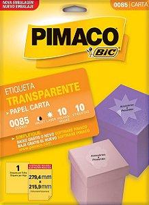ETIQUETA CARTA 0085 TRANSPARENTE 10 FOLHAS - PIMACO