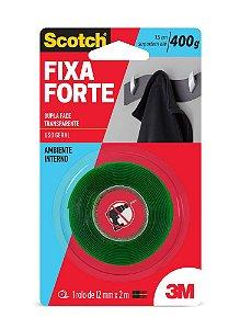 FITA DUPLA FACE SCOTCH FIXA FORTE TRANSPARENTE 12MMX2M - 3M