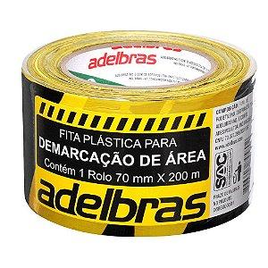FITA PLÁSTICA PARA DEMARCAÇÃO DE ÁREA 70MMX200M ZEBRADA - ADELBRAS
