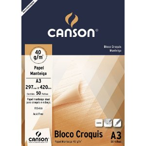 BLOCO CROQUIS A3 40 G/M² MANTEIGA C/50 FLS - CANSON