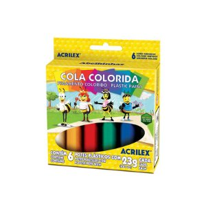 COLA COLORIDA 23G C/6 CORES - ACRILEX