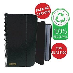 PORTA CARTÕES ESPIRAL PP PRETO PARA 80 CARTÕES - PLASTPARK