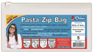 PASTA ZIP BAG 28CMX14CM CRISTAL C/5 UNIDADES - CHIES