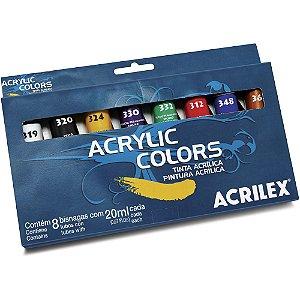 TINTA ACRÍLICA 20ML ACRYLIC COLORS C/8 CORES - ACRILEX