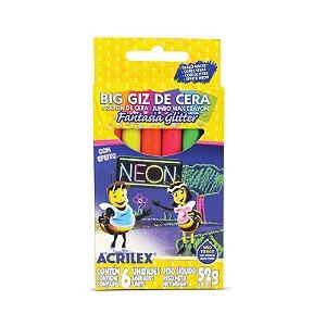 BIG GIZ DE CERA FANTASIA GLITTER COM EFEITO NEON C/6 CORES - ACRILEX