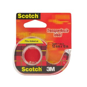FITA ADESIVA TRANSPARENTE SCOTCH COM SUPORTE 12MMX10M - 3M