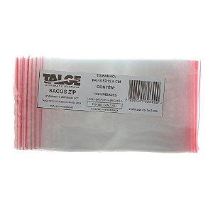 SACO PLÁSTICO ZIP LOCK Nº 4 [8,5CMX12,5CM] C/100 UNIDADES - TALGE