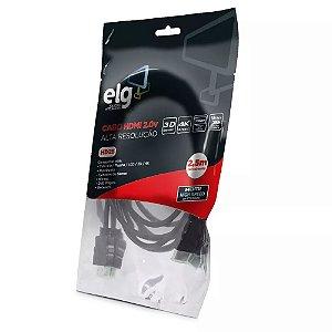 CABO HDMI 2.0V 3D READY 4K DE 2,5M HD25 PRETO - ELG