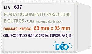 PORTA DOCUMENTO C/ABA 63MMX95MM CRISTAL C/50 UNIDADES - DEO