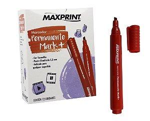 MARCADOR PERMANENTE MARK+ VERMELHO C/12 UNIDADES - MAXPRINT