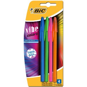 CANETA ESFEROGRÁFICA COLLECTION VIBE COLORS 0.8MM CARTELA C/4 UNIDADES - BIC