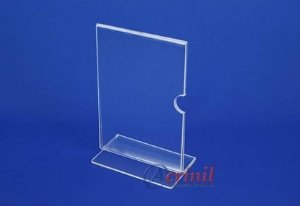 DISPLAY DE MESA VERTICAL 100MMX155MM DUPLA FACE CRISTAL - ACRINIL