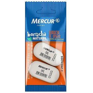 BORRACHA DE APAGAR OVAL BRANCA C/2 UNIDADES - MERCUR