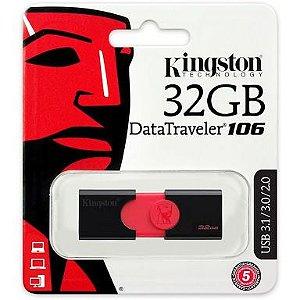 PEN DRIVE DT106/32GB PRETO E VERMELHO - KINGSTON