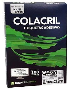 ETIQUETA INKJET E LASER PAPEL A4 CA4351 100 FLS - COLACRIL