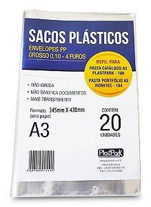 SACO PLÁSTICO PP A3 4 FUROS GROSSO C/20 UNIDADES - PLASTPARK