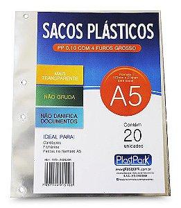 SACO PLÁSTICO PP A5 4 FUROS GROSSO C/20 UNIDADES - PLASTPARK