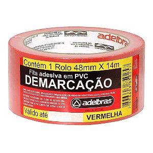FITA ADESIVA PARA DEMARCAÇÃO DE SOLO 48MMX14M VERMELHA - ADELBRAS