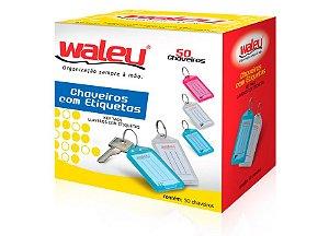 CHAVEIROS COM ETIQUETAS SORTIDOS C/50 UNIDADES - WALEU