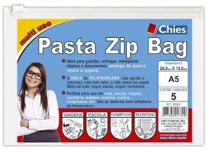 PASTA ZIP BAG 26CMX18CM CRISTAL C/5 UNIDADES - CHIES