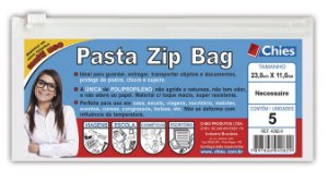 PASTA ZIP BAG 23CMX11CM CRISTAL C/5 UNIDADES - CHIES