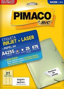 ETIQUETA A4 A4255 25 FOLHAS - PIMACO
