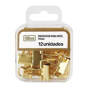 PRENDEDOR DE PAPEL 19MM DOURADO C/12 UNIDADES - TILIBRA