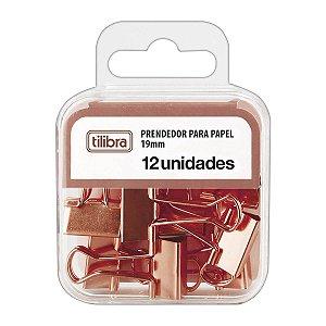 PRENDEDOR DE PAPEL 19MM OURO ROSE C/12 UNIDADES - TILIBRA