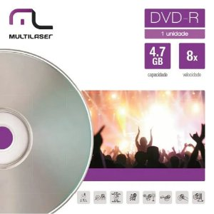 DVD-R GRAVÁVEL 4.7GB ENVELOPE DV018 - MULTILASER