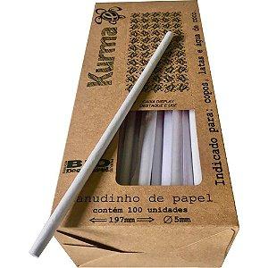 CANUDO DE PAPEL 5MMX197MM BRANCO C/100 UNIDADES - KURMA