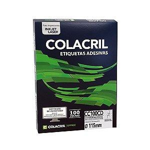 ETIQUETA INKJET E LASER PAPEL CARTA CD E DVD CC100CD 100 FLS - COLACRIL