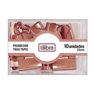 PRENDEDOR DE PAPEL 25MM OURO ROSE C/10 UNIDADES - TILIBRA