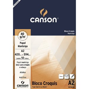 BLOCO CROQUIS A2 40 G/M² MANTEIGA C/50 FLS - CANSON