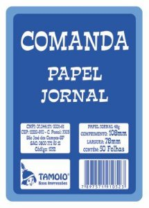 COMANDA PARA RESTAURANTE 78MMX108MM 50 FLS C/20 UNIDADES - TAMOIO