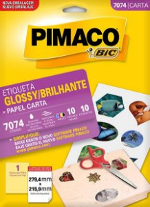 ETIQUETA CARTA GLOSSY BRILHANTE 7074 10 FOLHAS - PIMACO