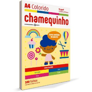 PAPEL CHAMEQUINHO A4 COLORIDO 4 CORES - 100 FLS