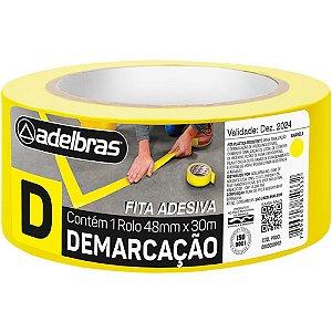 FITA ADESIVA DEMARCAÇÃO DE SOLO 48MMX30M AMARELA - ADELBRAS