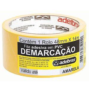 FITA ADESIVA PARA DEMARCAÇÃO DE SOLO 48MMX14M AMARELA - ADELBRAS