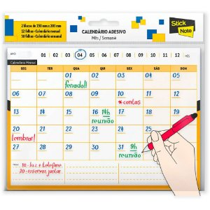 CALENDÁRIO ADESIVO MÊS/SEMANA 150MMX203MM STICK NOTE 42 FLS - SPIRAL