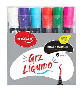 GIZ LÍQUIDO CHALK MARKER C/6 CORES - MOLIN