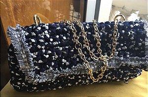 bolsa croche azul marinho e branco