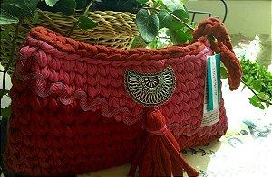 clutch pink e vermelho em fio de malha forrada