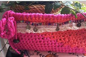 clutch duas cores pink e lalanja estilo Boho ,forrada