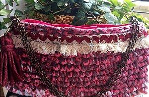 bolsa em fio de malha com alças duplas de ferro ,detalhes estilo Boho .