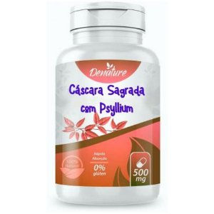 Cascara Sagrada com Psyllium 500mg 100 cápsulas - Denature