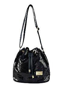 Bolsa Saco Preta com Paetê